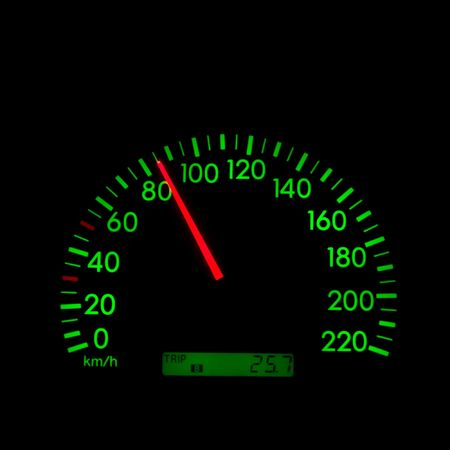 Speedometer of a car showing 85 photo