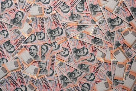 Pile of banknotes as a background (hungarian forint) Banco de Imagens