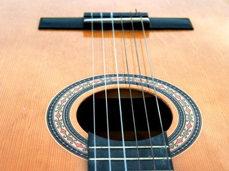 Detail of an acoustic guitar photo