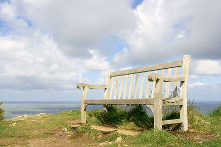 Bench in a nice coastal scenery photo