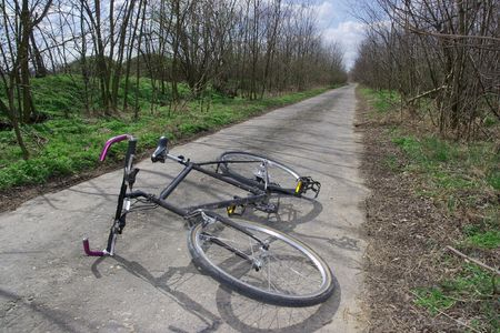 road and path through: Bicycle left on the road
