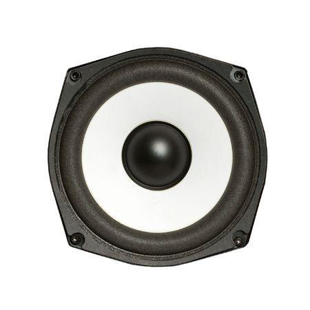 hifi: Hi-fi loudspeaker isolated on white background