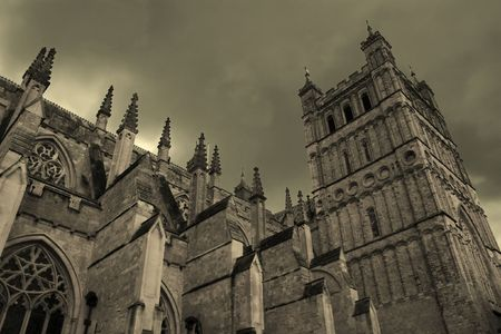 gloomy: Medieval cathedral with gloomy sky (Exeter, United Kingdom)