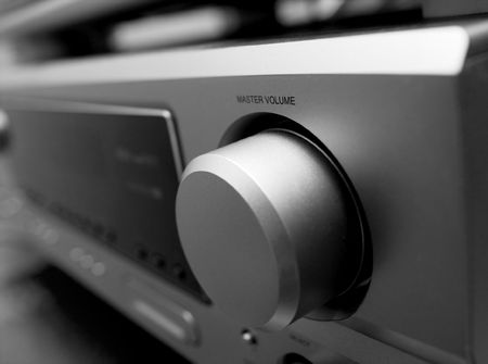 master volume: Volume control of a hi-fi amplifier Stock Photo