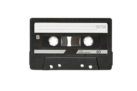 mc: Audio cassette isolated on white background