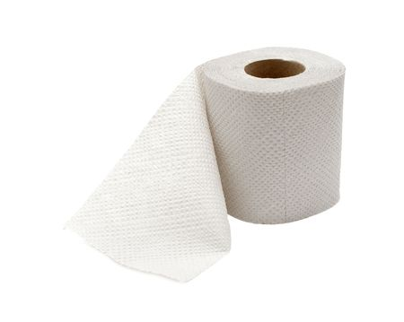 Roll of toilet paper isolated on white photo