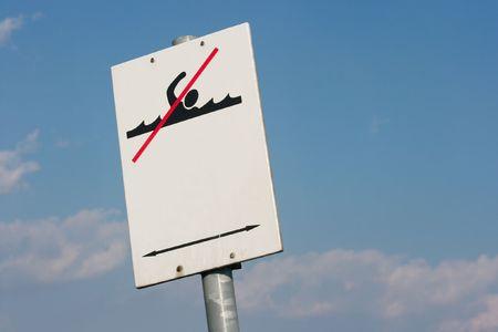 Swimming forbidden warning sign photo