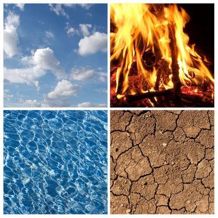 cuatro elementos: Los cuatro elementos - aire, fuego, agua, la Tierra  Foto de archivo