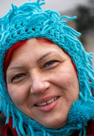 informal clothes: Woman in silly hat