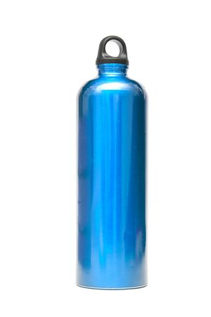 bring: Blue water flask isolated on white