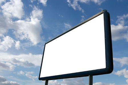 adboard: Blank advertisement board with cloudy blue sky