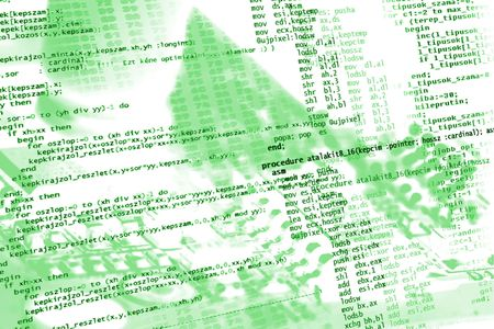 Sourcecode on electronics background in green photo