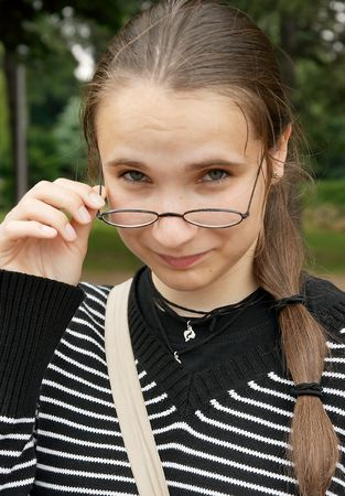 Portrait of a girl wearing glasses photo
