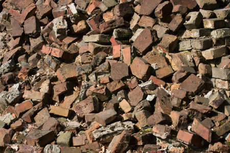 decadence: Debris of a destroyed building, brick fragments
