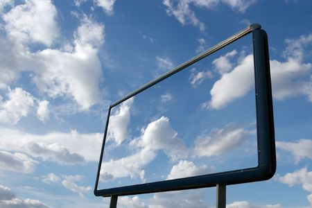 Signboard with clear blu sky, white clouds Stock Photo - 3532870