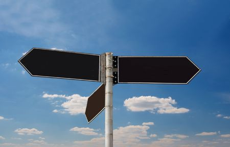 Empty direction sign boards against blue sky Stock Photo - 3532853