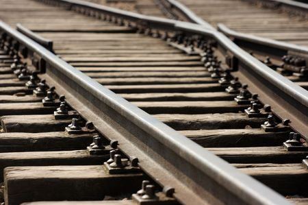 Closeup of an old railway junction Stock Photo - 3532929