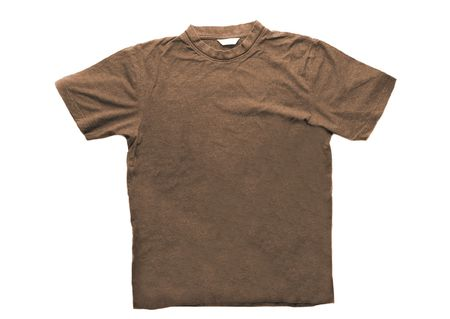 Brown t-shirt isolated on white background