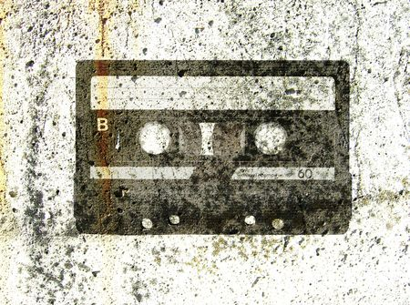 magnetic stones: audio cassette background with stone texture Stock Photo