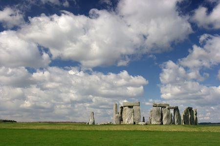 The Stonehenge with cloudy blue sky photo
