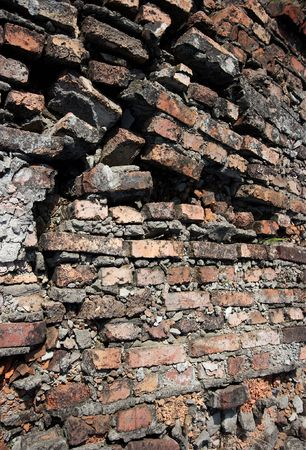 Ruined, old brick wall background photo