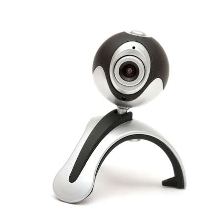Webcam isolated on white, pointed at the viewer Stock Photo