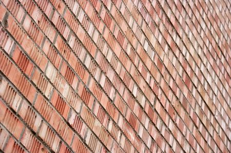 Angled view of a simple brick wall photo
