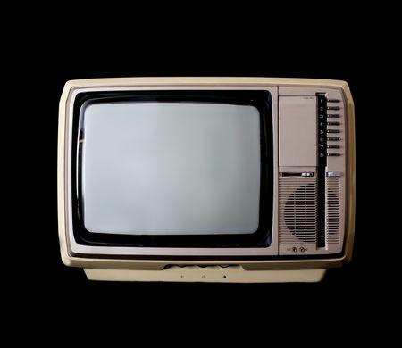 Vintage tv set isolated on black