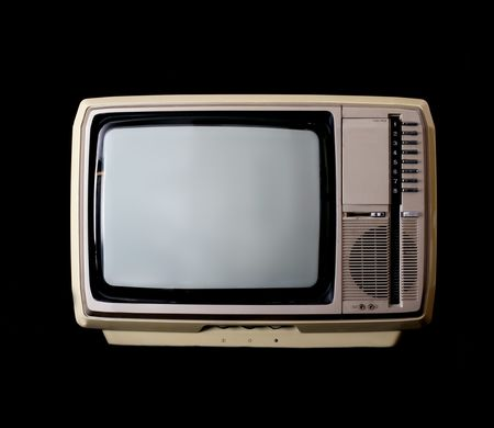 Vintage tv set isolated on black