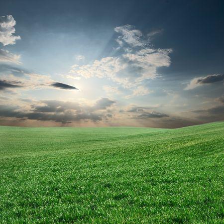 shining through: Campo verde con travi luce del sole splende attraverso le nuvole