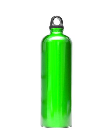 bring: Green aluminum water bottle isolated on a white Stock Photo