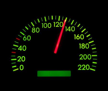 Speedometer showing 130 glowing green photo