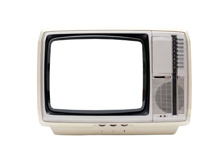 Vintage TV set isolated on white with blank white screen