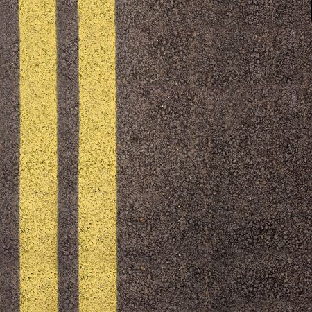 stopping: Double yellow line on asphalt texture Stock Photo