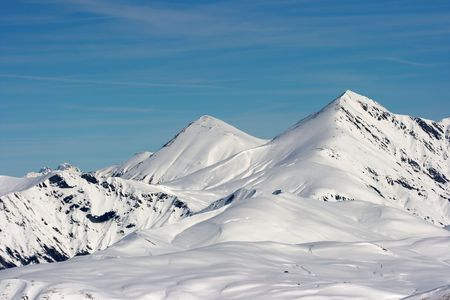 High mountains covered in snow Stock Photo - 3800192