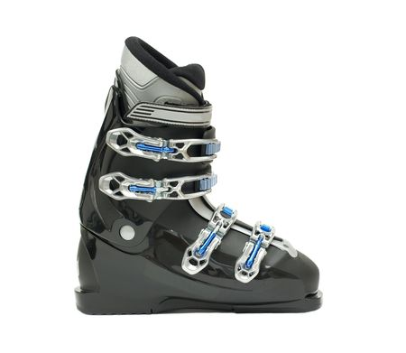 Ski boots isolated on white photo