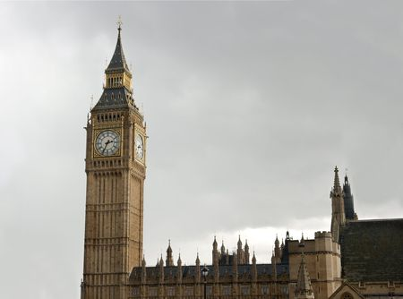 clocktower: Big Ben clocktower of the English parliament in overcast, gloomy weather Stock Photo