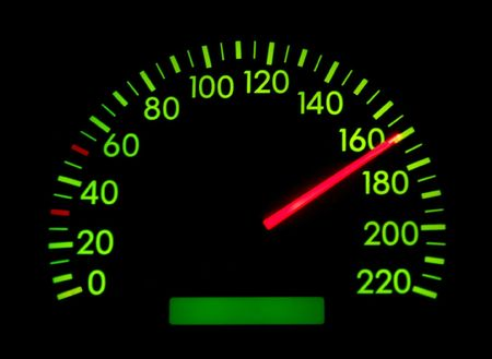 Speedometer of a car showing 170 photo