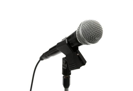 Dynamic microphone on a stand isolated on white Stock Photo