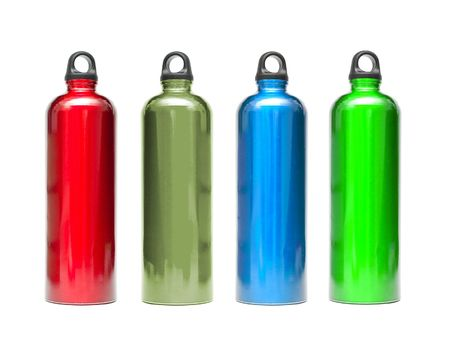 Metal water bottles in different colors isolated on white Stock Photo