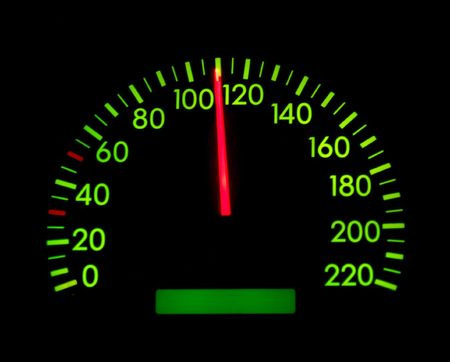 Speedometer of a car showing 110 photo