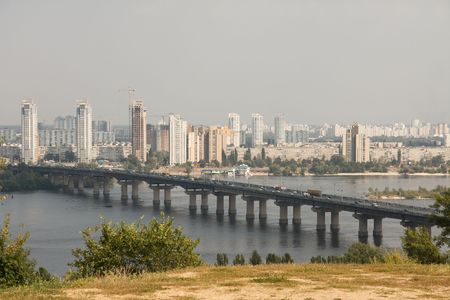 dniper: View of Kiev with the river Dnieper Stock Photo