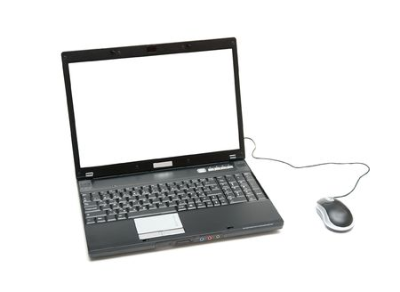 Laptop with blank white screen isolated on white Stock Photo - 4080178