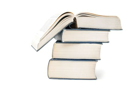 A pile of thick books isolated on a white Stock Photo - 4133259