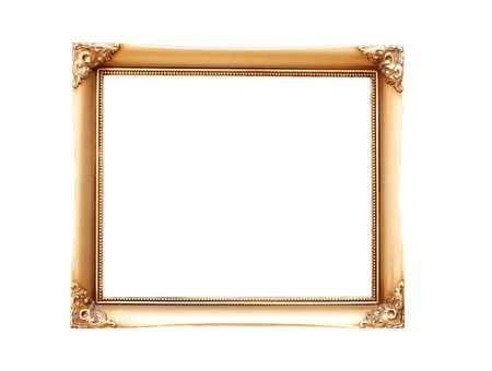 simple border: Empty, decorated picture frame isolated on white