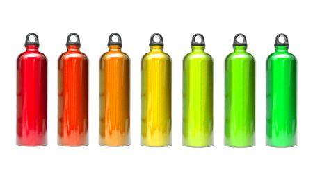 water can: Aluminum bottles in different colors isolated on white