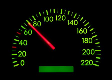 Speedometer of a car showing 70 photo