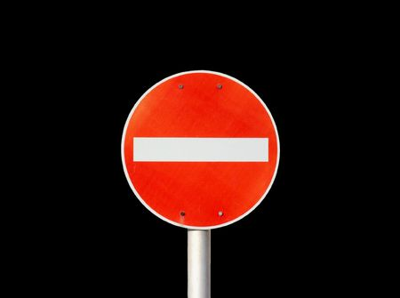 no signal: No entry traffic sign isolated on black