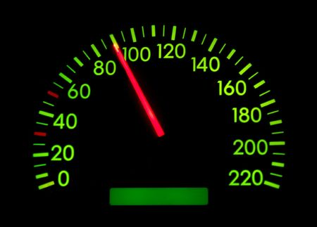 Speedometer of a car showing 90 photo