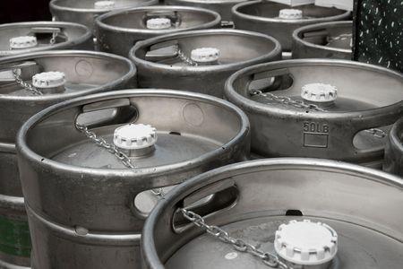 Metal beer barrels in rows in the factory Stock Photo - 5498530